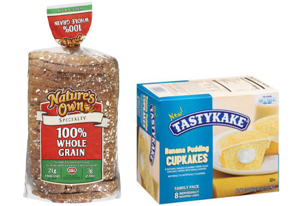 Flowers Foods Nature's Own bread and Tastykake cupcakes