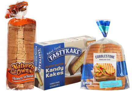 Flowers Foods products - Nature's Own bread, Tastykake Kandy Kakes, Cobblestone Bread Co. bread
