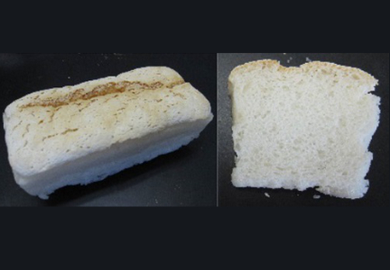 This gluten-free bread made with rice flour has the consistency and volume similar to a wheat flour loaf. Photo courtesy of Hiroshima University.