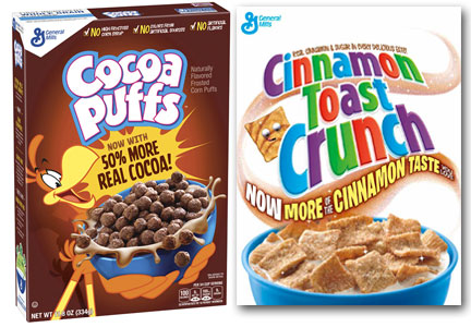 General Mills Cocoa Puffs and Cinnamon Toast Crunch Cereal