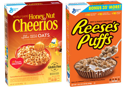 General Mills gluten-free Cheerios and Reese's Puffs without artificial colors