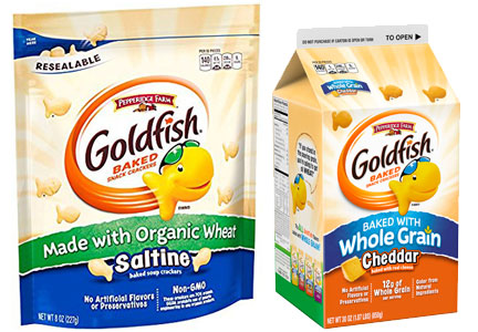 Whole grain and organic Goldfish crackers, Pepperidge Farms
