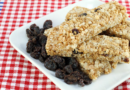 Plate of breakfast granola bars