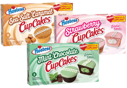 Hostess mint chocolate, strawberry and sea salt caramel CupCakes