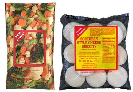 Inventure Foods frozen vegetables and biscuits