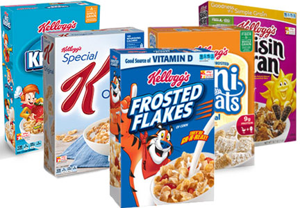 Kellogg's core 5 cereals: Frosted Flakes, Mini-Wheats, Raisin Bran, Special K, Rice Krispies