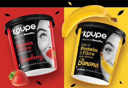 Koupe ice cream alternative in strawberry and banana flavors