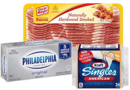 Kraft Heinz Kraft American Singles, Philadelphia Cream Cheese, Oscar Mayer Bacon