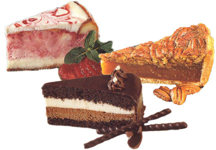 Lawler Foods desserts - layer cake, cheesecake, pie