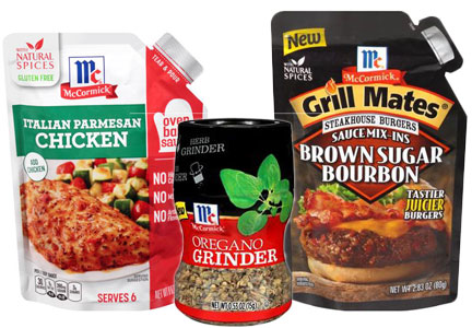 McCormick marinade pouches and herb grinders