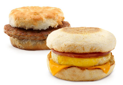McDonald's breakfast options, McMuffin, biscuit sandwich