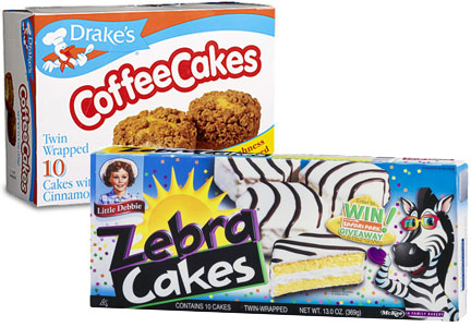 McKee Foods products, Drake's coffee cakes and Little Debbir Zebra Cakes