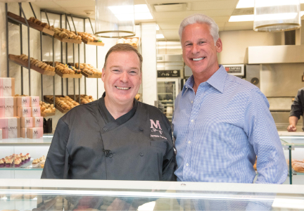 Consulting Chef Jacques Torres with OTG CEO Rick Blatstein at the opening of Mélange Bakery Cafe, a 24-hour production bakery inside the airport, providing the freshest baked goods to travelers terminal-wide.