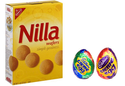 Mondelez products featuring eggs - Nabisco Nilla wafers and Cadbury Creme Eggs