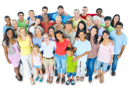 A group of people diverse in ethnicity and age