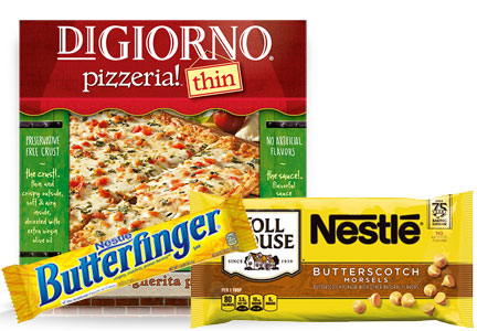 Nestle products with no artificial ingredients - Toll House chocolate, Butterfinger, Digiorno pizza