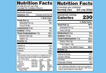 New vs old nutrition facts panel