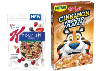 Special K Nourish granola, Cinnamon Frosted Flakes, Kellogg