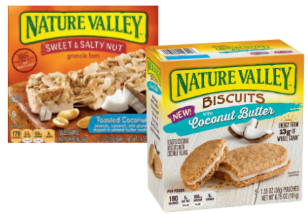 Nature Valley coconut granola bars and bsicuit sandwiches, General Mills