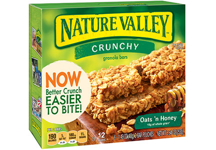 Nature Valley crunchy granola bars, easier to bite
