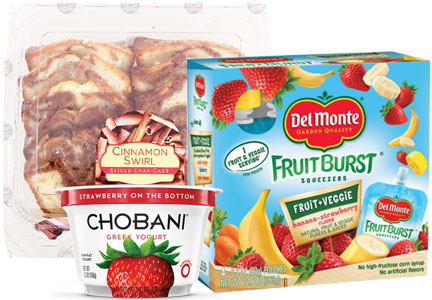 Packaged foods from Chobani, CSM Bakery, Del Monte Foods