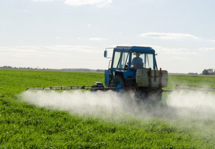 Farmer spraying pesticides on crops