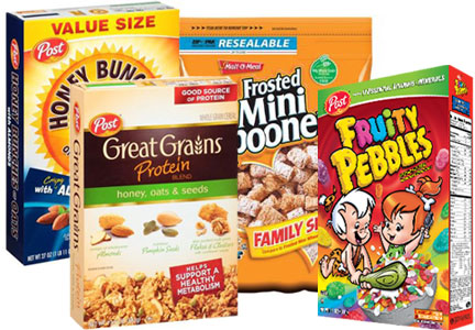 Post cereals - Great Grains, Honey Bunches of Oats, Pebbles, Malt-O-Meal