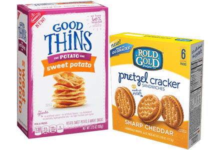Sweet potato Good Thins, Rold Gold pretzel cracker sandwiches