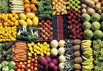 Boxes of fruits and vegetables