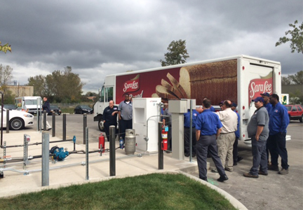 Sara Lee alternative fuel vehicle at a propane fueling station, Bimbo Bakeries