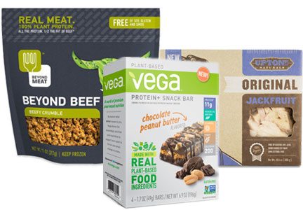 Plant protein products: Beyond Meat, Upton's Naturals, Vega