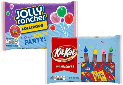 Hershey party packaging for Kit-Kat and Jolly Ranchers