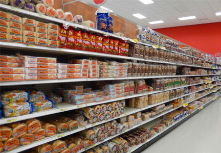 Bread aisle in a grocery store