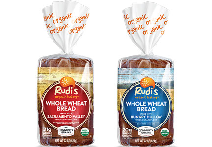 Rudi's Whole Wheat Bread made with Sacramento Valley Whole Grain Flour and Whole Wheat Bread made with Hungry Hollow Whole Grain Flour, Hain Celestial, Community Grains