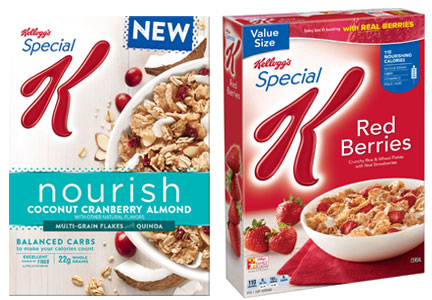 Special K Nourish and Special K Red Berries cereal
