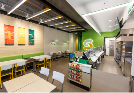 Redesigned Subway restaurant