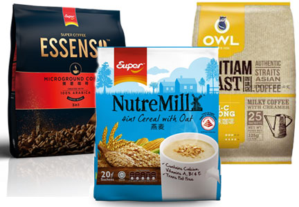 Super Group coffee brands - OWL, NutreMill, Essenso