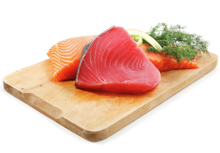 Tuna and salmon, omega-3