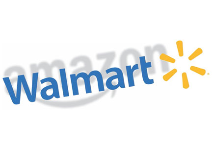 Walmart logo with Amazon logo in shadow behind it