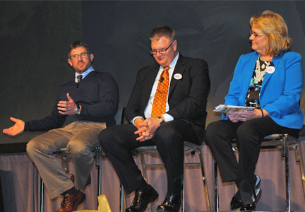 (from left) Chris Miller, Ph.D., director of wheat quality research for Heartland Plant Innovations; Jeff Koscelny, Ph.D., of Monsanto; and Theresa Cogswell, owner of BakerCogs, Inc.